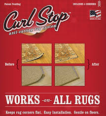 How To Stop A Rug Slipping On Wooden Floors Amazon Com Curl Stop Anti Curling Rug System Pack Of 4 Corners