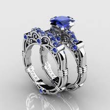 Diamond Sapphire Wedding Ring by Diamond And Sapphire Wedding Rings Elegant Art Deco Style Blue
