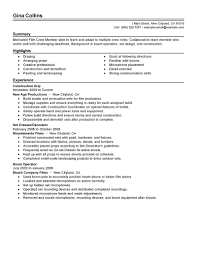 Best Resume Sample For Job Application by Best Film Crew Resume Example Livecareer