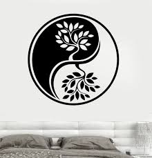 arrival religion vinyl wall decal yin yang circle trees om