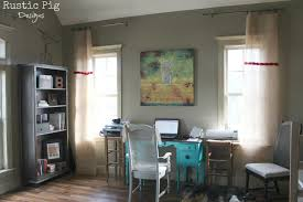Burlap Ruffled Curtains Decorating Burlap Curtains With Grey Wall And Desk For Home
