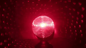Rotating Disco Ball Light Mirrored Disco Ball Rotating Under Red Lights Stock Footage