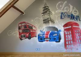 chambre de londres décoration graffiti de chambre d enfant sur le thème de londres