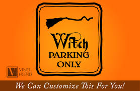 halloween decals witch parking only halloween vinyl decal sign with broom for home