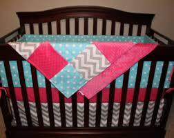 Pink And Aqua Crib Bedding Pink Crib Bedding Etsy