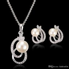 silver pendant necklace set images 2018 newest bridal jewelry crystal pearl pendant necklace stud jpg