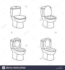 toilet sketch sign toilet bowl with seat doolde line icon set