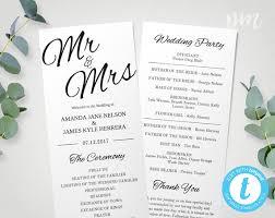 Wedding Pamphlet Template Printable Wedding Program Template Mr U0026 Mrs Instant Download