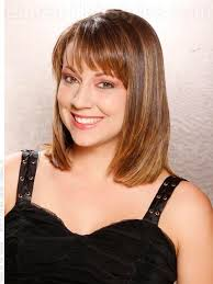 mid length hair cuts longer in front triangular layers mid length silky style with bangs triangular