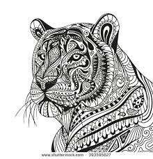 coloring pages of tigers vector illustration of an abstract ornamental tiger stock vector