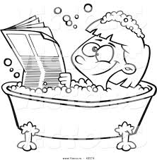 vector of a happy cartoon reading the newspaper in a bath tub