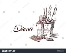 diwali crackers gifthand drawn sketch vector stock vector