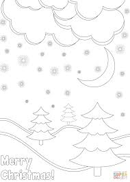 merry christmas card with winter landscape coloring page free