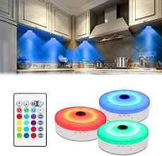 how to install led puck lights kitchen cabinets bason puck lights with remote cabinet led lighting rgb wireless rechargeable light for closet display 3 pack