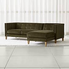 Grey Velvet Sectional Sofa by Grey Velvet Sofas Crate And Barrel
