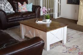 Living Room Table With Storage How To Build A Farmhouse Coffee Table With Storage Free