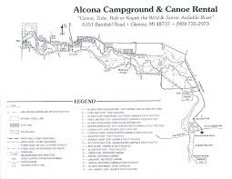 Michigan Campgrounds Map by Alcona Canoe Rental