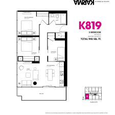 3 Bedroom Plan 3 Bedroom Floorplans Karma Condos 3 Bedroom Floor Plans For