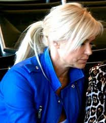 yolanda foster hair color yolanda foster s blue moto jacket in paris big blonde hair