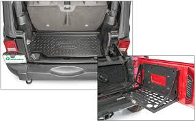 jeep tailgate storage smittybilt tailgate table with quadratec rear cargo liner for 07