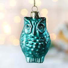 turquoise mercury glass owl ornament ornaments