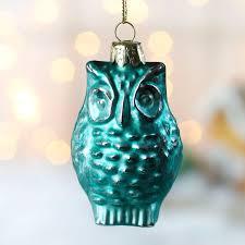 owl ornaments turquoise mercury glass owl ornament christmas ornaments
