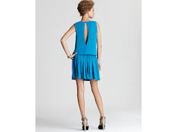 turquoise bentley alice olivia bentley draped mini dress in blue lyst