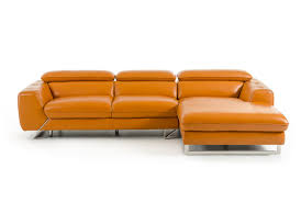 casa devon modern orange leather sectional sofa