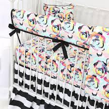 Black And White Crib Bedding Sets Black White Stripe Floral Bumperless Crib Bedding Caden