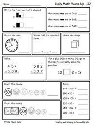 math for second grade counting money ordering numbers expanded