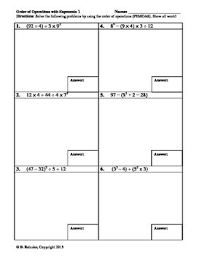 order of operations worksheets with exponents of operations worksheets braces brackets and parentheses