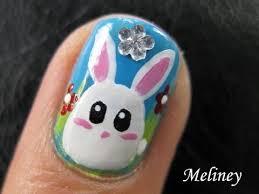 cute animal nails art tutorial easter bun bun bunny white rabbit