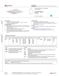 gotham 6 evo square flangeless specsheet user manual 3 pages