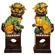 foo dogs for sale antique large pair of porcelain polychrome foo dogs