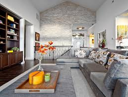 Accent Wall For Living Room by Kirkland Custom Living Room With Stone Accent Wall Transitional