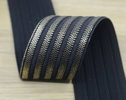 stretchy ribbon 2 inch 50mm wide black and gold stripes elastic band waistband