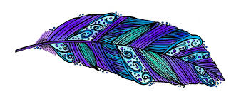 purple feather watercolor and ink feather mae