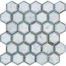 Marble Mosaic Tile 2 X 2 Honed Bianco Carrara Marble Vortex Hexagon Mosaic Tile W