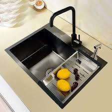 metal kitchen sink and cabinet combo steel kitchen sink black combo thickening manual trough basin stage basin undercounter single groove kitchen cuisine