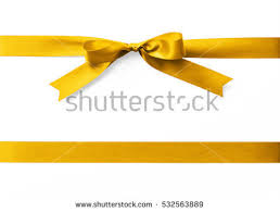 gold satin ribbon stripe fabric bow stock photo 532563889