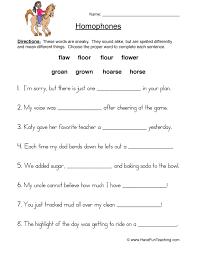 homophones worksheet 3