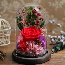 colorful roses the beautiful glass cover fresh preserved flower immortal
