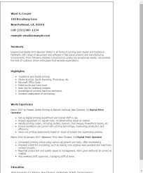 print resume professional digital print operator templates to showcase your