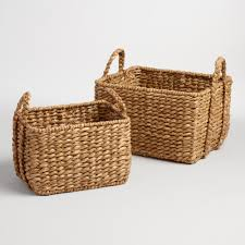 baskets decorative storage wicker weave baskets world market natural hyacinth rectangular molly baskets
