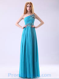 buy tailor made appliques one shoulder chiffon full length blue