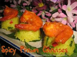 bases for canapes spicy prawn canapes