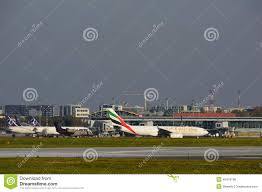 Warsaw Airport Map Emirates Plane On The Warsaw Chopin Airport Editorial Photo