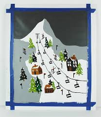 mountain skiing paint by number project by decoart