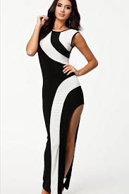 black white two tone side slit maxi dress party dresses women