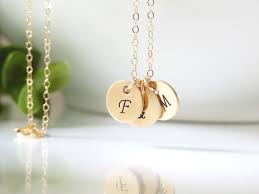 Stamped Initial Necklace Personalized Hand Stamped Necklaces For Mom